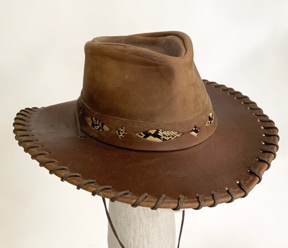 Brown Leather Cowboy Hat Vintage Western Snakeskin Details Stitched Edges Chin Strap Made in USA by Henschel Hat Co