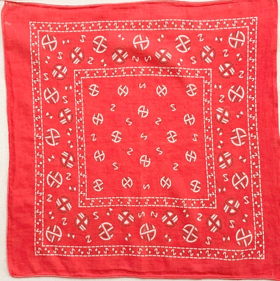 Faded 50's Red Bandana Very Soft Cotton Single Stitched Edge Vintage 40's 50s Circle Print Worn Patina Small Size