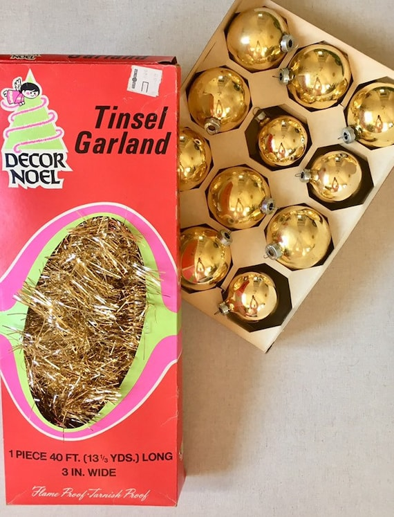 Gold Christmas Decorations Ornaments Tinsel Vintage 50s Glass Bulbs Balls Made in USA Tree Holiday Decor