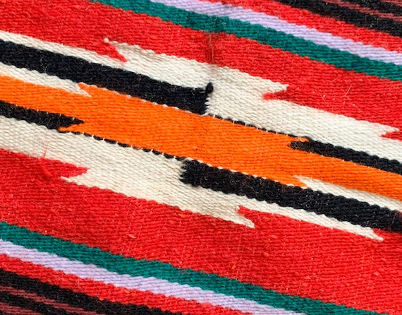60s Red Serape Blanket Throw Vintage Mexican Hand Woven Wool Saltillo Striped Vibrant Colors Lime Green Colorful Stripes Fringe Edge