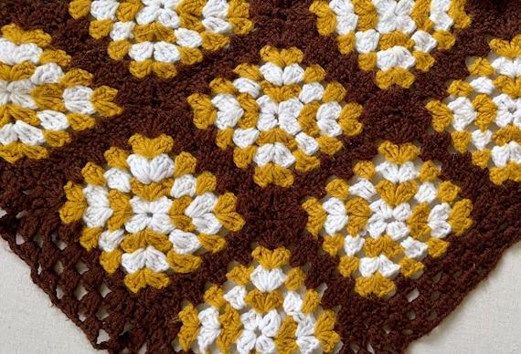 Crochet Blanket Brown Ochre White Vintage Hand Knit Handmade Throw Patchwork Square Design Rectangle Shape