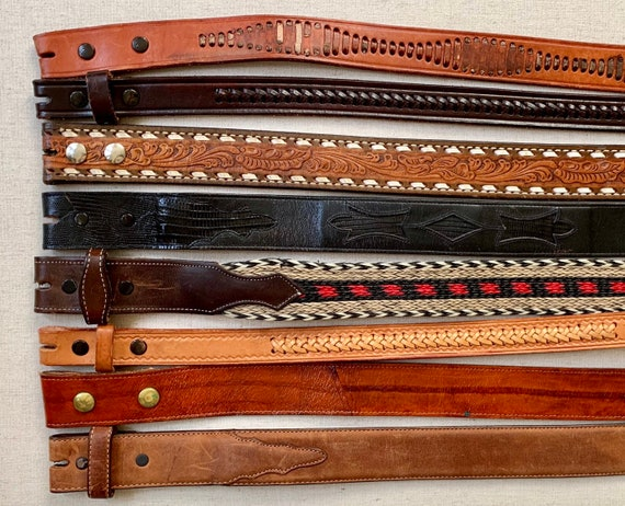 Tooled Leather Belt Strap Vintage Snap On Detachable Tooled Leather Distressed Mens Women's Western Belts