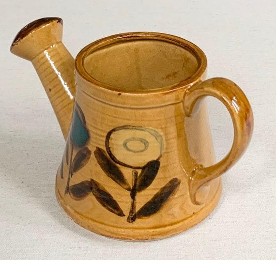 Ceramic Pottery Watering Can Flower Pot Vase Vintage Glazed Ochre Brown Floral Flowers Housewarming Gift
