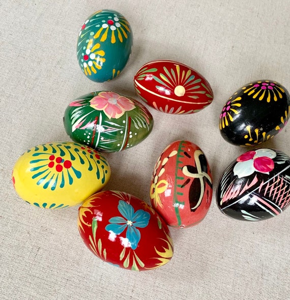 Hand Painted Wooden Eggs Lot of 8 Vintage Handmade Bright Colorful Folk Art Home Easter Spring Holiday Decor