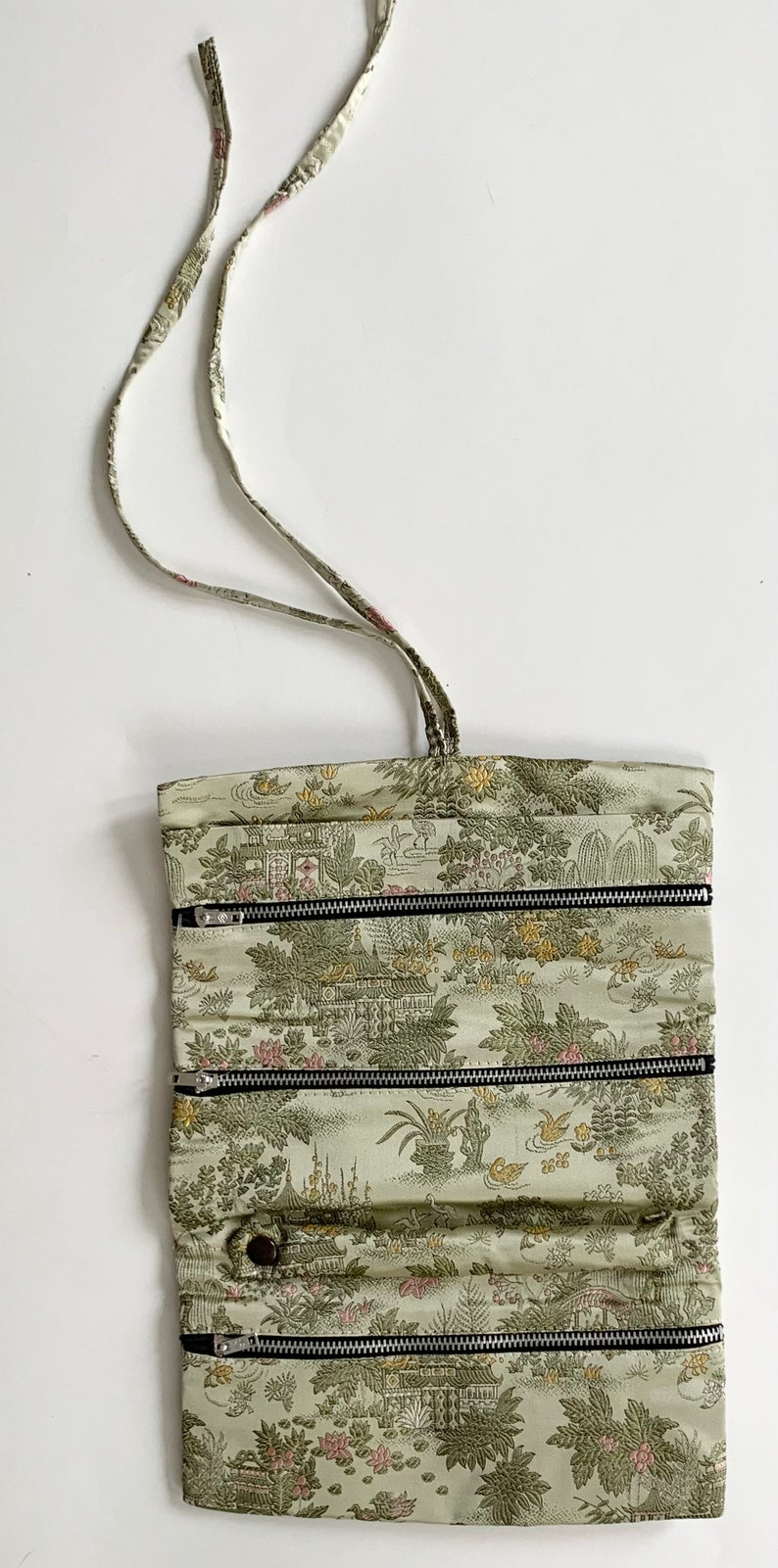 Handmade Silk Jewelry Roll Pouch Bag for Travel Pale Green Chinese Floral Fauna Motif Vintage Taching Hand Made in China