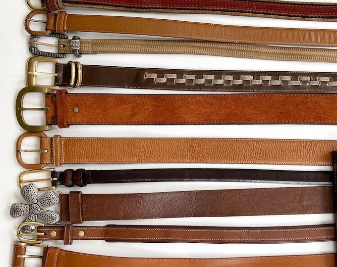 Womens Brown Leather Belt Vintage Belts Minimalist Simple Plain Classic Style Gold Skinny Waist Belts Brass Buckle