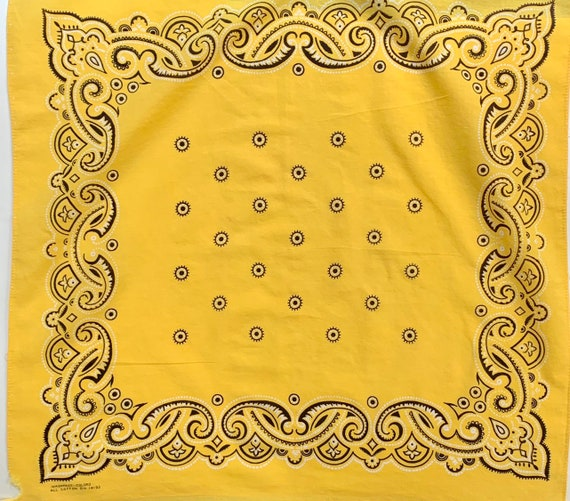 Faded Yellow Bandana Vintage 70s Washfast Colors RN 14193 Sun Drenched Lemon Yellow Black White All Cotton