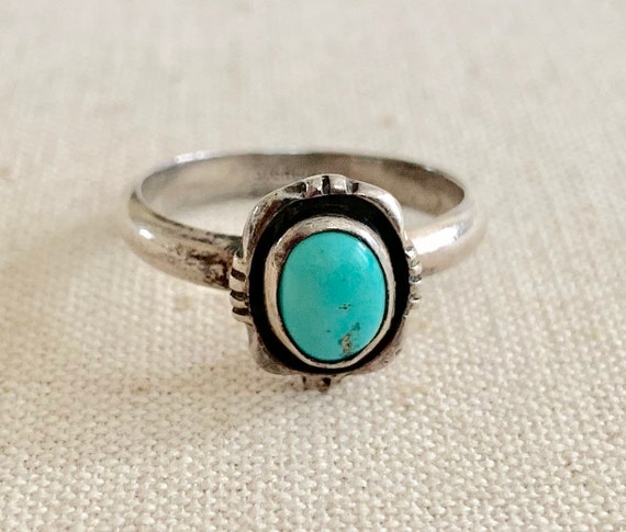 Tiny Turquoise Ring Native American Navajo Sterling Silver Dainty Delicate Small Thin Stackable Vintage Rings Size 8