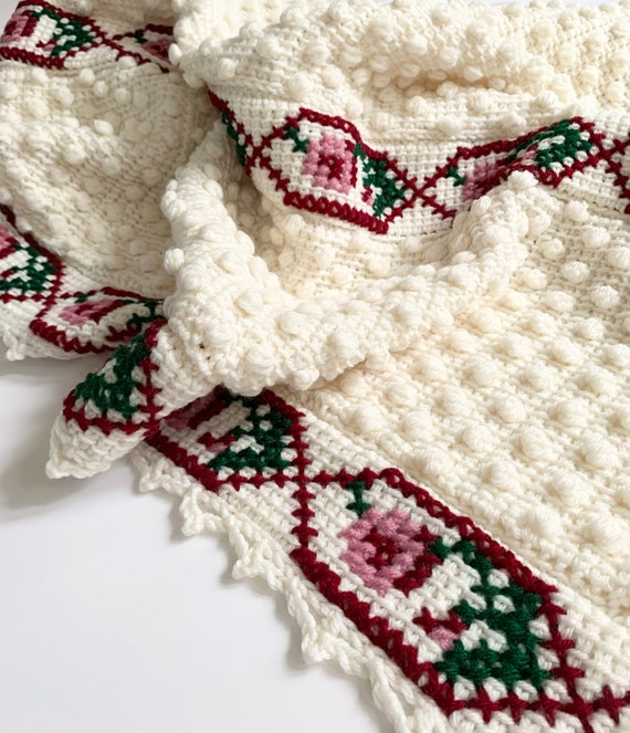 Floral Hand Knit Throw Blanket Afghan Handmade Vintage Natural White Crochet Popcorn Knit Stitched Flower Rose Design