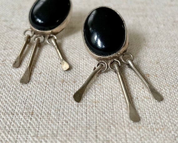 Navajo Black Onyx Earrings Vintage Native American Black Stone Sterling Silver Dangle Fringe