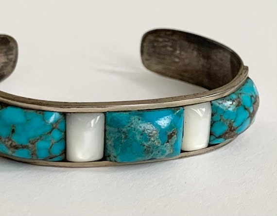 Older Zuni Turquoise Bracelet Cuff Vintage Native American Sterling Silver MOP Mother of Pearl Turquoise Inlay Petite Small Ladies Wrist
