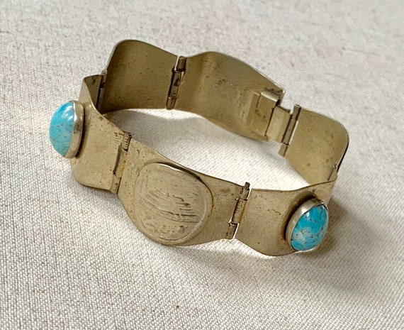 Hinged Brass Turquoise Bracelet Stone Inlay Made in Mexico Vintage 70s Bohemian Boho Link