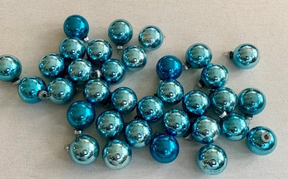 Small Blue Glass Bulb Ornaments Balls Mid Century Lot of 34 Vintage Retro Christmas Tree Holiday Decor