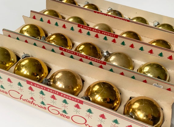Gold Shiny Brite Ornaments Bulbs Lot of 20 in Original Box Vintage 50s Made in USA Mid Century Christmas Tree Decor
