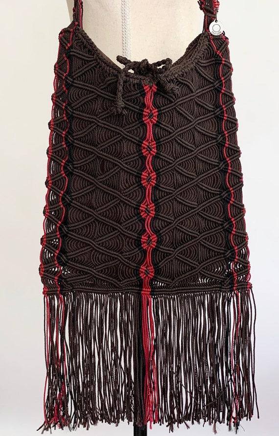 Macrame Sak Hobo Bag Purse Pristine Condition Vintage 90s The Sak Crochet Macrame Woven Chocolate Brown Red