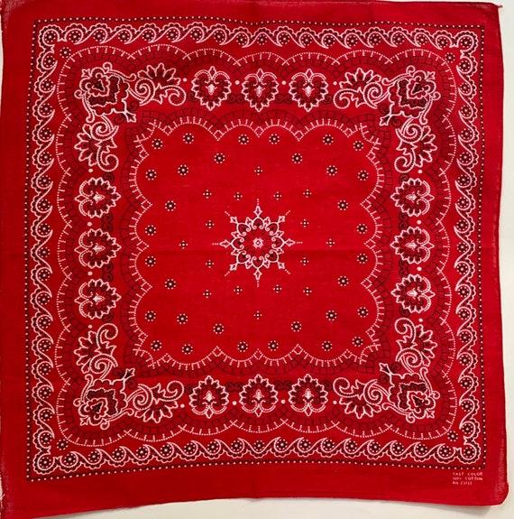 40s Red Bandana Fast Color Vintage Black White Paisley All Cotton RN 23733 Antique Bandanas Square