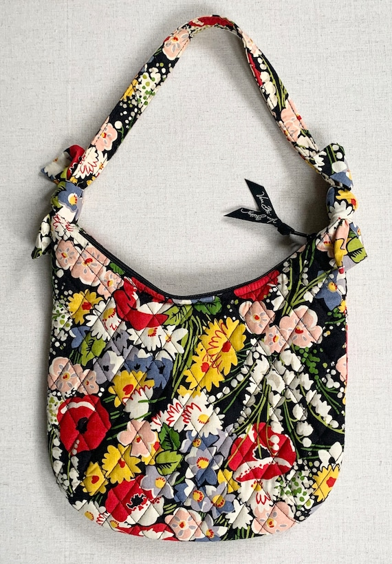 Vera Bradley Quilted Purse Bag Black Red Pink Poppy Daisy Lily of the Valley Floral Print Cotton Zip Top Cherry Print Lining