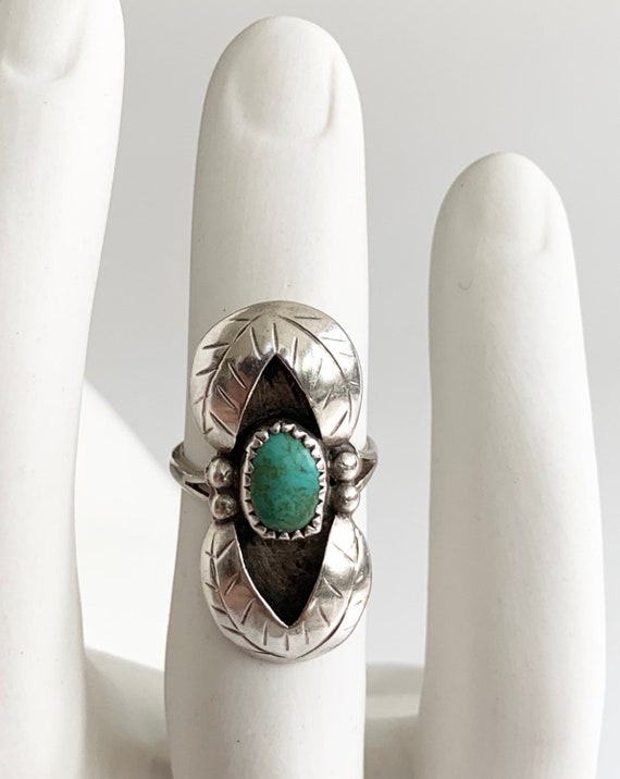 Navajo Shadowbox Turquoise Ring Sterling Silver Elongated Vintage Native American Navajo Size 6.75