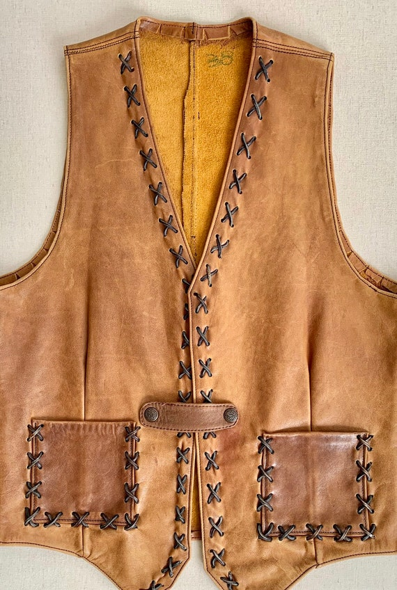Western Tan Leather Vest Vintage Handmade Distressed Faded Patina Cognac Brown Leather Buttons Mens Women's Unisex S M