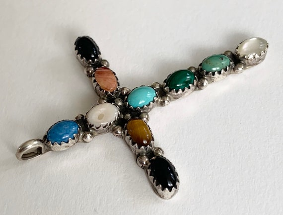 Native American Cross Pendant Vintage Native American Artist Signed LB Sterling Silver Multi Stone Turquoise MOP Catholic Religious Crucifix