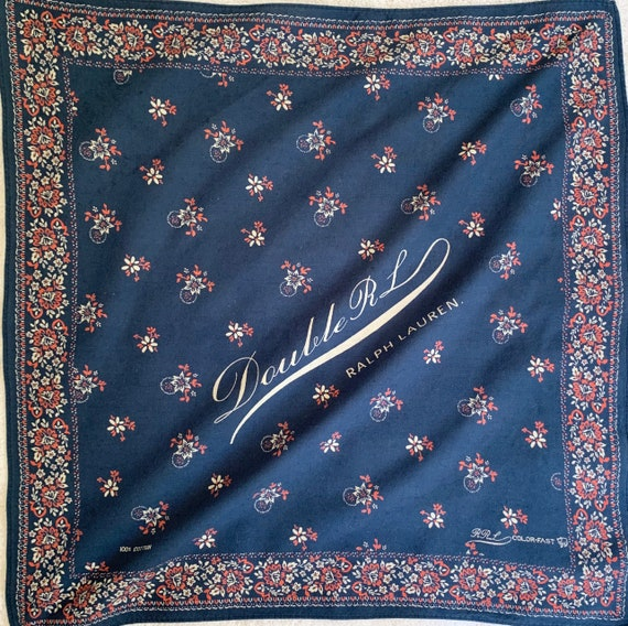 Double RL Bandana Indigo Blue Red White Floral Logo Print Vintage Colorfast All Cotton Designer Cowboy Scarf