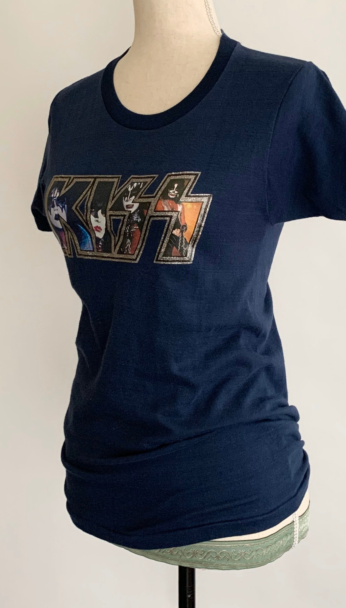 Vintage KISS T Shirt 70s Glitter Iron On Transfer Soft 50 50 Poly Cotton Rare Graphic Tee Dark Midnight Blue Made in USA Size XS S