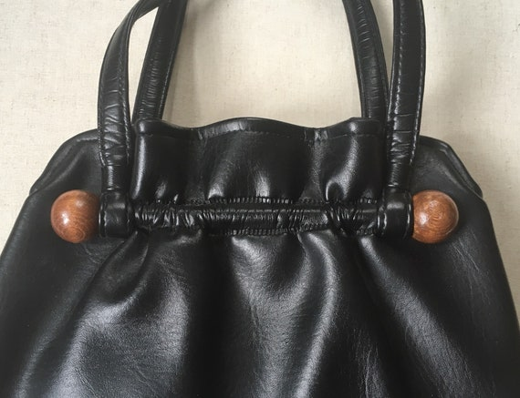 Black Vegan Leather Purse Handbag Vintage 60s Wood Bead Detail Interior Clutch Made in USA