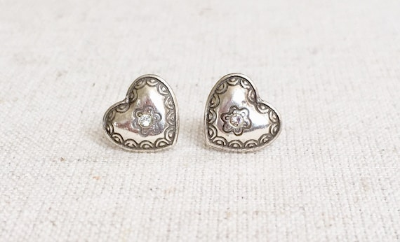 Tiny Heart Earrings Sterling Silver Small Size Simple Understated Minimalist Stamped Etched Girl Teen Gift