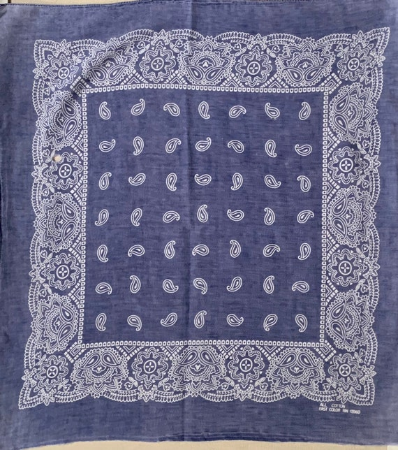 Paper Thin Indigo Bandana Scarf Vintage 80s Super Soft Very Faded Blue Worn All Cotton Fast Color