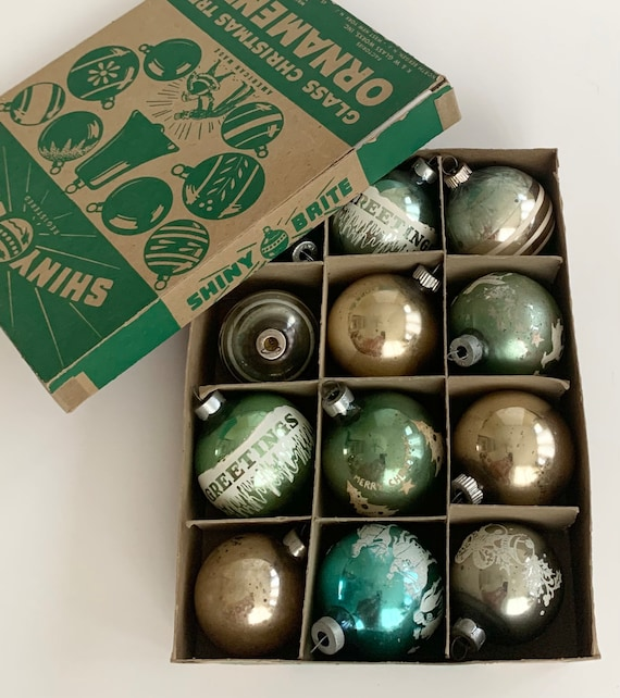Shiny Brite Christmas Ornaments Glass Bulbs Lot of 12 in Box Blue Aqua Green Silver Tone Very Worn Patina