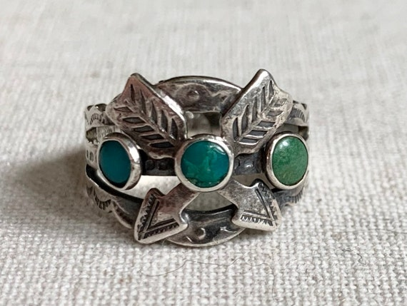Crossed Arrows Turquoise Ring Cigar Band Vintage Fred Harvey Era Native American Sterling Silver Double Crossed Arrows Hallmarked Size 5.5
