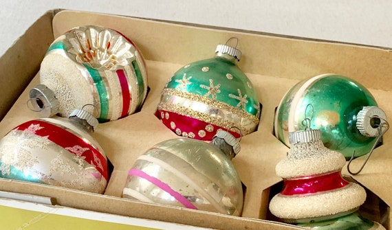 Shiny Brite Glass Ornaments Bulbs Vintage Mid Century Holiday Striped Indent Glitter Snowflake UFO  Lot of 6