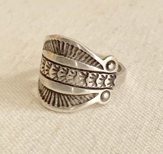 Bill Emerson Cigar Ring Band Vintage Native American Artisan Crafted Sterling Silver Wide Band Artist Signed Signed 8.5