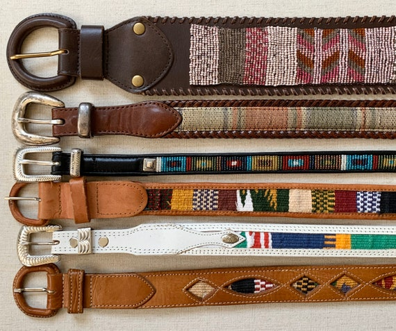 Boho Ethnic Embellished Belt Leather Belts Vintage Belts Beaded Woven Textile Inlay Western Guatemala Brighton