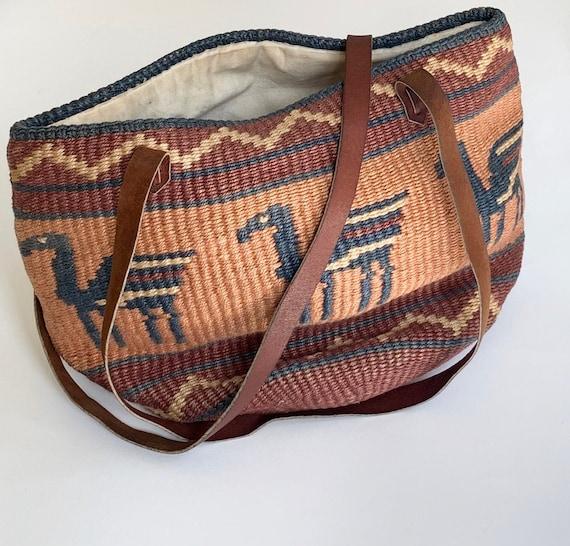 Vintage Sisal Straw Bag Purse Leather Straps Beige Brown Blush Pegasus Design Market Beach Bag Tote Cotton Canvas Lined