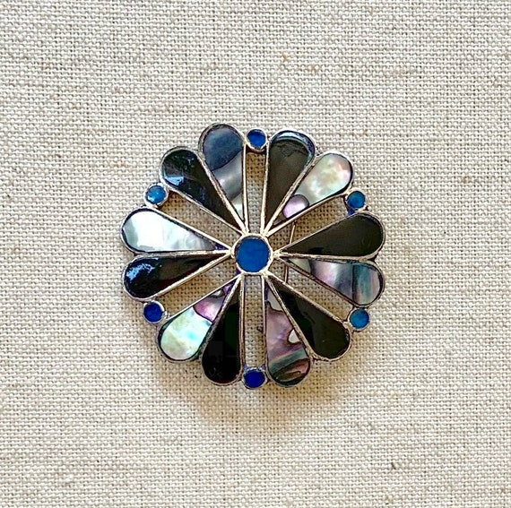 Taxco Sterling Inlay Brooch Pin Pendant Vintage Mexican Sterling Silver Abalone Onyx Lapis Pinwheel Flower Inlay