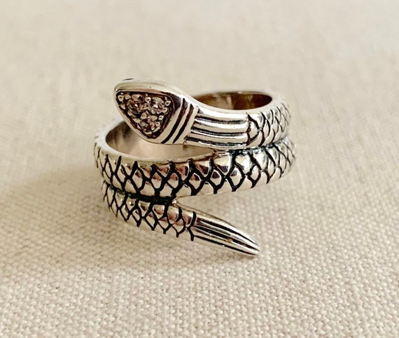 Sterling Silver Snake Ring Band Vintage Coiled Serpent 925 Tiny CZ Details Boho Egyptian Size 7