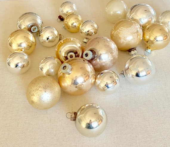 Vintage Silver Glass Ornament Bulb Mixed Lot of 20 Silver Gold Tone Aged Patina Metal Tops Aged Patina