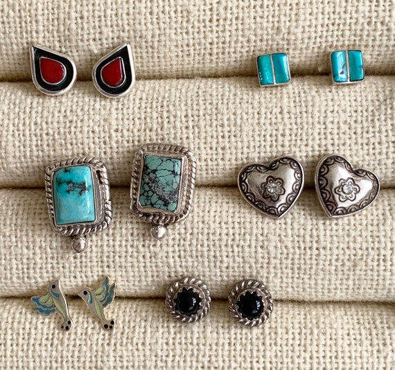 Native American Stud Earrings Tiny Studs Vintage Sterling Silver Turquoise Coral Onyx Inlay Navajo Zuni Hummingbird Square Dainty Delicate