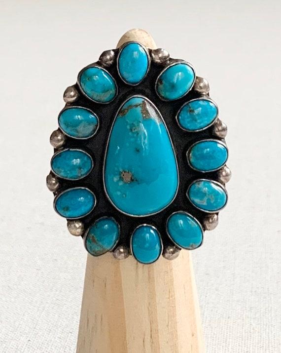 Exquisite Turquoise Cluster Ring Chimney Butte Artist Signed Vintage Native American Navajo Sterling Silver Oversized Large Huge Size 7