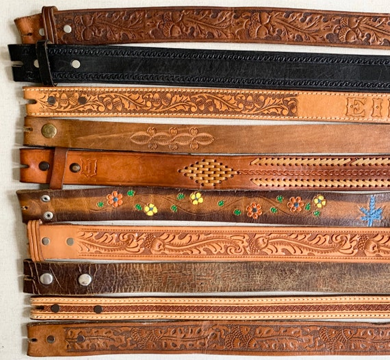 Western Leather Belt Strap Vintage Snap On Detachable Distressed Black Brown Tan Leather Western Rodeo Mens Women's Belts