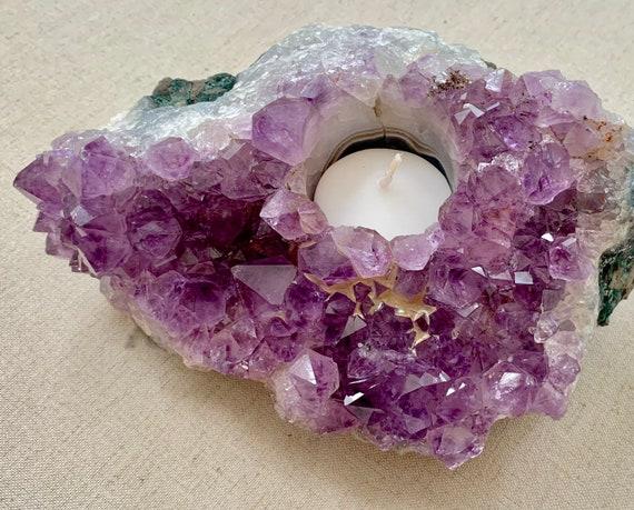 Amethyst Cluster Candle Holder Vintage Rocks Minerals Crystals Home Decor Tea Light Candlestick Healing Purple Crystal Rock