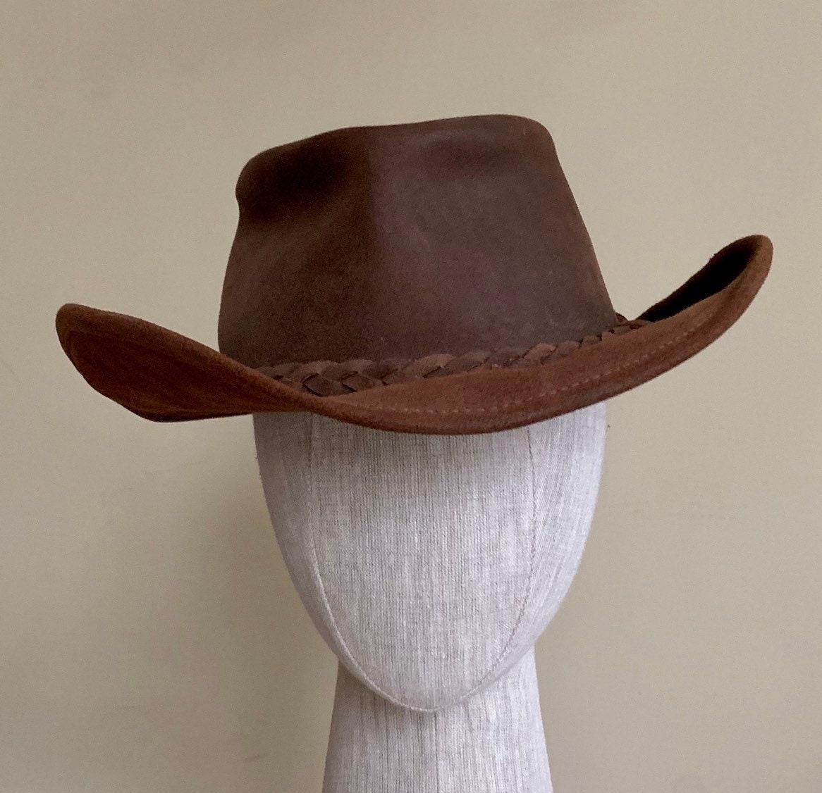 b94b44608 Brown Leather Cowboy Hat Vintage Western Braided Hat Band Distressed ...