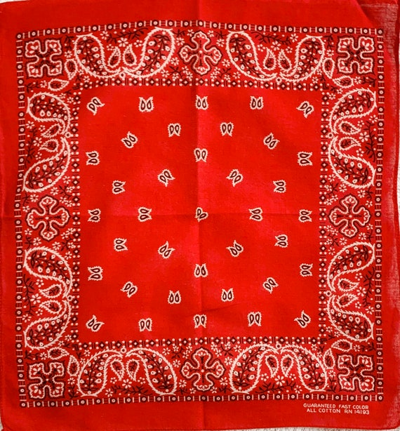 Small Lightweight Red Bandana Vintage 50s 60s Black White Paisley Print Fast Color RN 14193 All Cotton