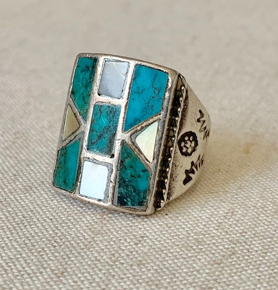 Turquoise Inlay Mens Ring Sterling Silver Vintage Native American Zuni Rustic Antique Rings Wide Hand Stamped Band Size 9