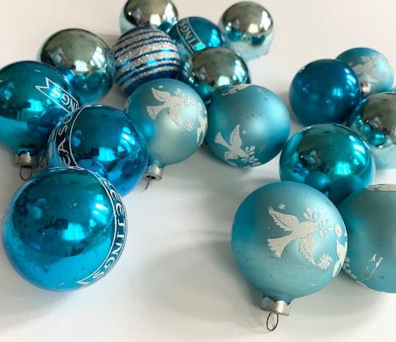Vintage Blue Ornaments Glass Bulbs Mixed Lot of 20 Blue Aqua Tones Aged Patina Metal Tops Retro Mid Century Christmas Decor