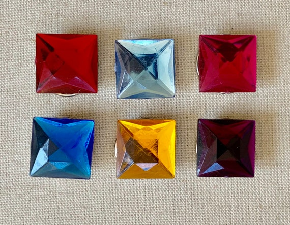 Colorful 80s Button Covers Lot Set of 6 Vintage Faux Gemstone Rhinestone Square Red Blue Purple Gold