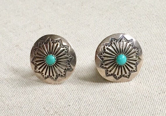 Turquoise Cuff Links Sterling Silver Vintage Native American Navajo Hand Stamped Menswear Mens Jewelry Gift