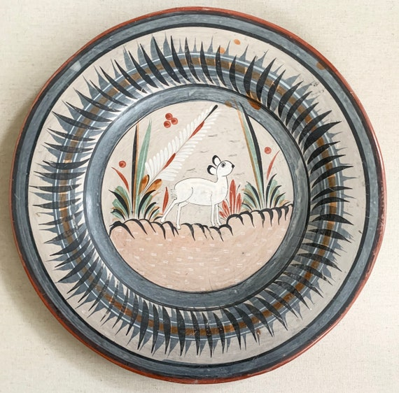 "Tonala Mexican Pottery Plate Platter Vintage Hand Painted Animal Rabbit Bunny Ceramic Folk Art Large 15.75"" Diameter Table Top Wall Decor"
