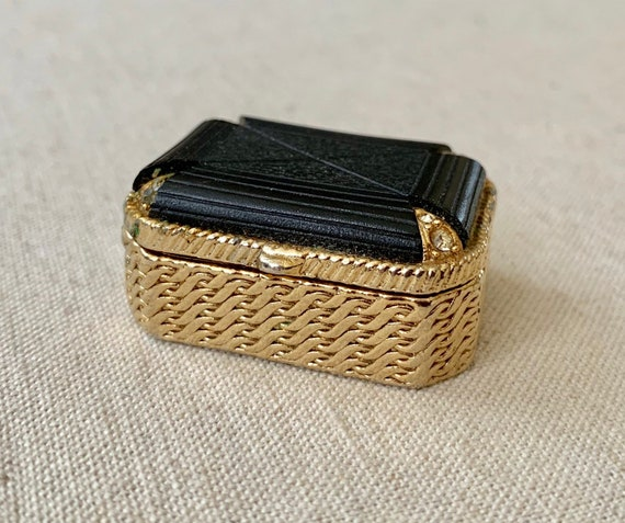 Vintage Pill Box Gold Tone Black Bakelite Hinged Lid Mid Century MCM Rectangle Small Tiny Trinket Jewelry Box